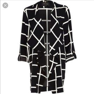 RIVER ISLAND Black & White Check Waterfall Jacket